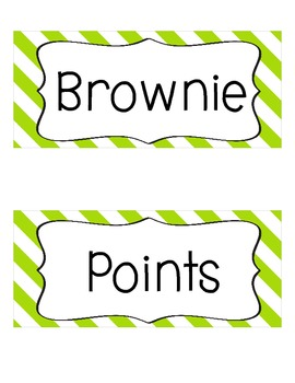 Brownie Points-A Whole Class Behavior Incentive in Lime and White Stripes