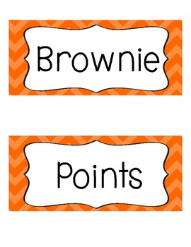 Brownie Points-A Whole Class Behavior Incentive in Orange Chevron
