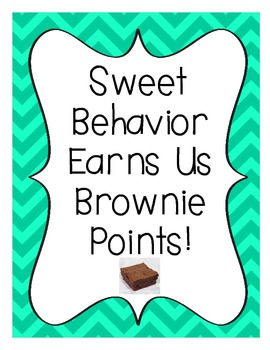 Brownie Points-A Whole Class Behavior Incentive in Turquoise Chevron