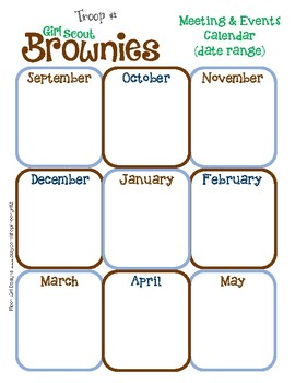 Brownie Yearly Calendar Girl Scouts Editable Printable PDF Template