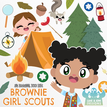 Brownies Girl Scouts Clipart, Instant Download Vector Art, Commercial Use