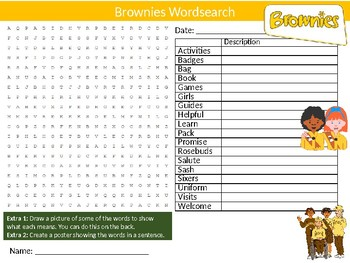 Brownies Wordsearch Sheet Starter Activity Keywords Scouts Scouting