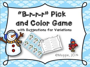 Brrr Pick and Color Math Games and Variations for Kindergarten