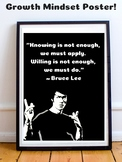 Bruce Lee Growth Mindset Poster Posters Inspirational Moti
