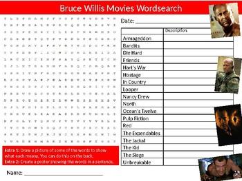 Bruce Willis Movies Wordsearch Puzzle Sheet Keywords Film Studies