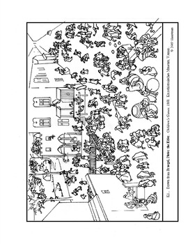 Bruegel. Children's  Games.  Coloring page and lesson plan ideas