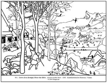 Bruegel. Hunters in the Snow.  Coloring page and lesson plan ideas