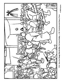 Bruegel. The Peasant Wedding.  Coloring page.