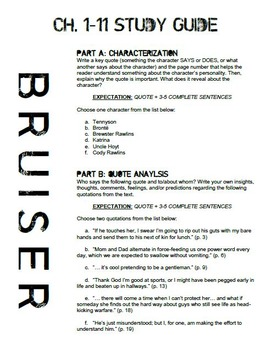 Bruiser Novel Study Packet