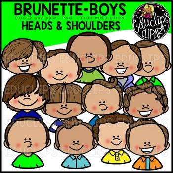 Brunette Boys Heads & Shoulders Clip Art Set {Educlips Clipart}