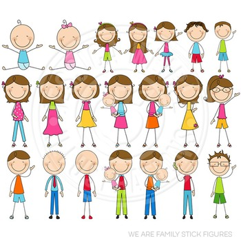 Brunette We Are Family Stick Figures Cute Clipart, Stick F