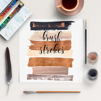 Brush Stroke Clipart, Hand Painted Clipart, Acrylic Strokes