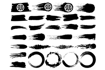Brush Strokes SVG Cut Files, Circle Brush SVG, Brush Strokes Clipart. Monogram.