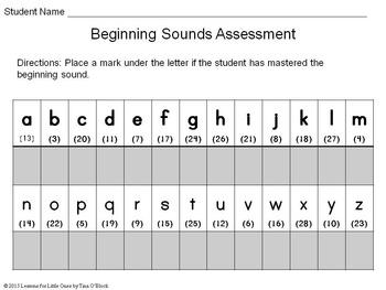 Beginning Sounds Assessment PowerPoint Game