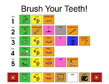Brush Your Teeth! Visual Aid with Fitzgerald Key (English/Spanish)
