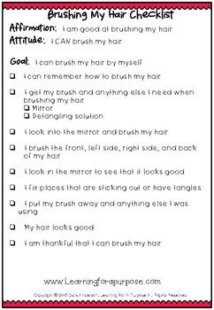 Brushing Hair Checklist