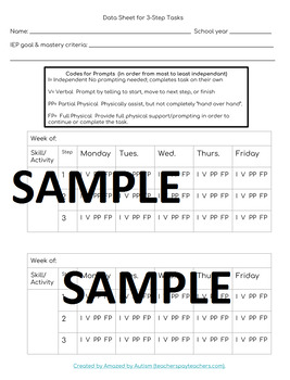 Brushing Teeth :3 Step Visual&Data Sheets-Autism/Special Education #spedislucky