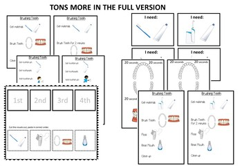 Brushing Teeth Visuals/Task Analyses- FREE SAMPLE (autism/sped)
