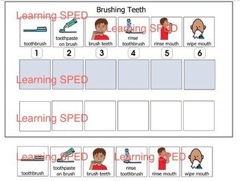 Brushing teeth routine sequence schedule velcro 6 step teeth brushing