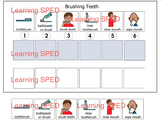 Brushing teeth routine sequence schedule velcro 6 step tee