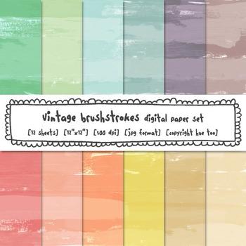 Brushstrokes Digital Paper Set, Pastel Watercolor Texture Backgrounds