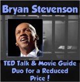 Bryan Stevenson Duo- TED Talk worksheet and Just Mercy Movie Guide