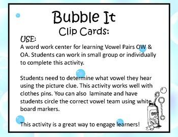 Bubble It Clip Cards/ OW & OA Vowel Teams ~ Center Activity