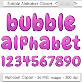 Bubble Alphabet Clipart Purple Letters Numbers Gum Digital