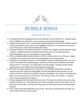 Bubble Bingo - Spanish 2: preliminary review (Realidades 2: PE)