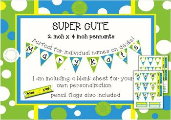 Bubble Blue add-on! Small pennant. Perfect for name tags on desks!