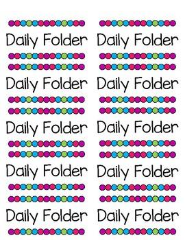 Bubble Bright Daily Folder Labels