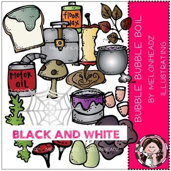 Bubble Bubble Boil clip art - BLACK AND WHITE- by Melonheadz