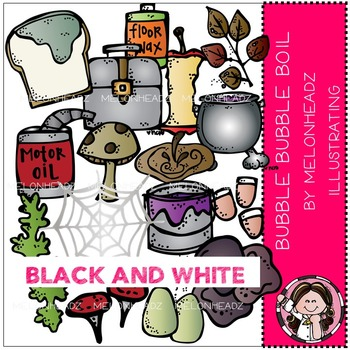 Melonheadz: Bubble Bubble Boil clip art - BLACK AND WHITE