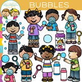 Kids Blowing Bubbles Clip Art