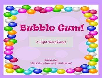 Bubble Gum!  A Pre-Primer Sight Word Game