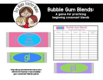 Bubble Gum Beginning Consonant Blends Game