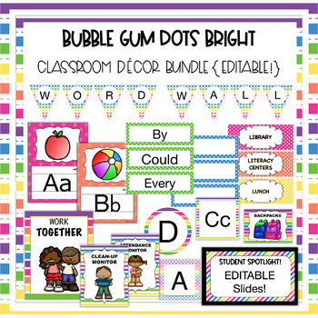 Bubble Gum Brights Classroom Theme Decor Bundle - Supply labels, jobs, and MORE!