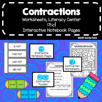 Contractions Worksheets, Puzzles and Interactive Notebook Pages