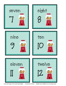 Bubble Gum Counting Cards 1-120