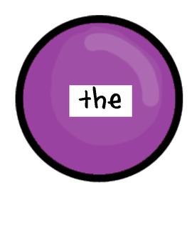 Bubble Gum Dolch words Pre-Primer -Third