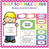 Bubble Gum Dots Bright Daily Schedule Cards {Editable!}