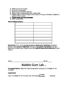 Bubble Gum Lab - Science Process Skills & Measurement