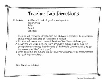 Bubble Gum Lab Tab Book