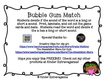"Bubble Gum Long ""a"" and Short ""a"" Match FREEBIE!"