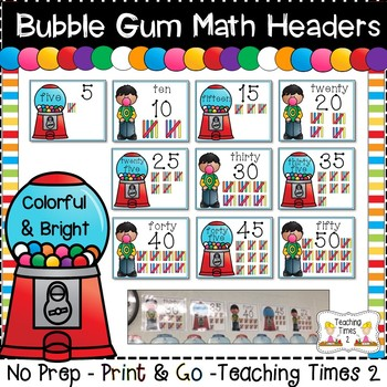 Bubble Gum Math Word Wall Headers- Count by 5's