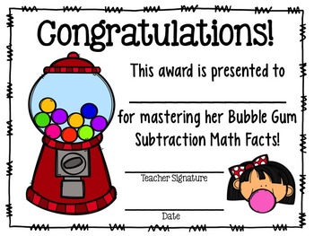 Bubble Gum Math: Subtraction Facts (0-10)