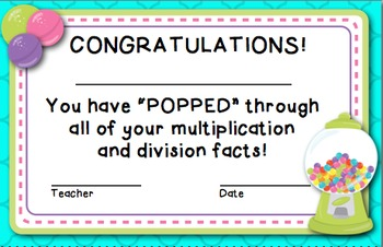 Bubble Gum - Multiplication and Division Timed Test Set