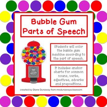 Bubble Gum Parts of Speech