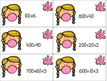 Bubble Gum Place Value Centers Numbers to 1,000