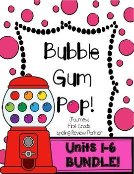 Bubble Gum Pop! Journeys- First Grade Units 1-6 BUNDLE! Spelling Partner Game